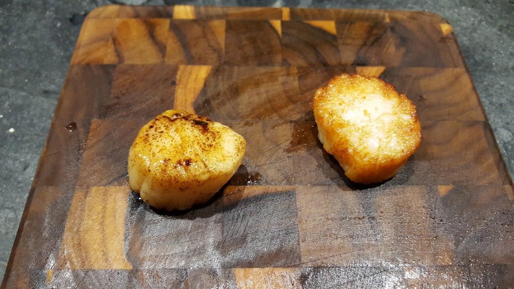 seared (left) vs sous vide (right) scallop